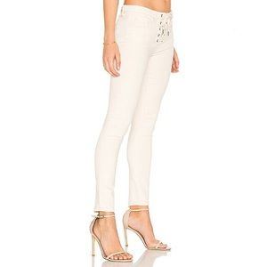 BLANK NYC lace up front ivory skinny jeans 28